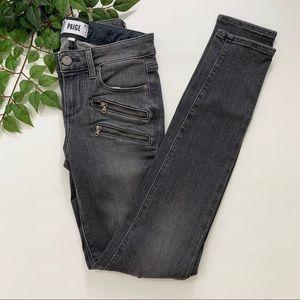 Paige Edgemont Gray Moto Skinny Jeans Zipper 25